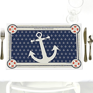 Ahoy - Nautical - Personalized Baby Shower Placemats