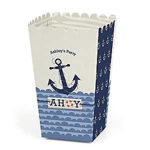 Ahoy - Nautical - Personalized Party Popcorn Favor Treat Boxes