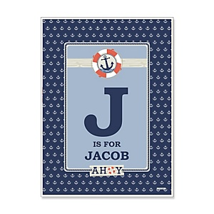 Ahoy - Nautical - Personalized Baby Shower Poster Gift