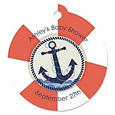 Ahoy - Nautical - Round Personalized Baby Shower Tags - 20 ct