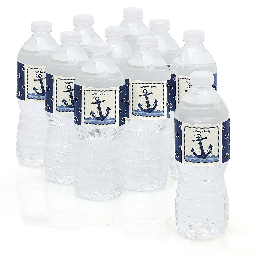 Ahoy   Nautical   Personalized Party Water Bottle Sticker Labels   Set Of 10