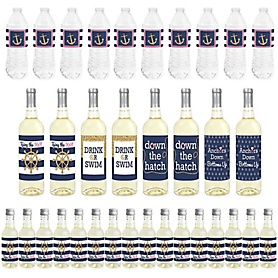 Last Sail Before The Veil - Mini Wine Bottle Labels, Wine Bottle Labels and Water Bottle Labels - Nautical Bachelorette and Bridal Shower Decorations - Beverage Bar Kit - 34 Pieces