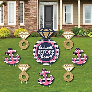 Last Sail Before The Veil - Yard Sign & Outdoor Lawn Decorations - Nautical Bachelorette & Bridal Shower Yard Signs - Set of 8