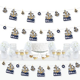 Last Sail Before The Veil - Nautical Bachelorette and Bridal Shower DIY Decorations - Clothespin Garland Banner - 44 Pieces