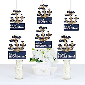 Last Sail Before The Veil - Anchor Shaped Bachelorette & Bridal Shower Decorations - DIY Party Essentials - Set of 20