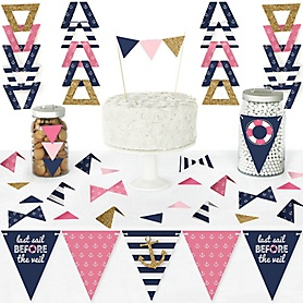 Last Sail Before The Veil - DIY Pennant Banner Decorations - Nautical Bachelorette and Bridal Shower Triangle Kit - 99 Pieces