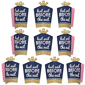 Last Sail Before The Veil - Table Decorations - Nautical Bachelorette and Bridal Shower Fold and Flare Centerpieces - 10 Count