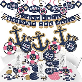 Last Sail Before The Veil - Nautical Bachelorette and Bridal Shower Supplies - Banner Decoration Kit - Fundle Bundle