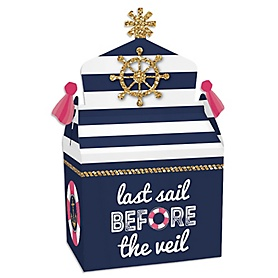 Last Sail Before The Veil - Treat Box Party Favors - Nautical Bachelorette and Bridal Shower Goodie Gable Boxes - Set of 12