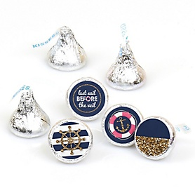 Last Sail Before The Veil - Round Candy Labels Bachelorette Party & Bridal Shower Favors - Fits Hershey's Kisses - 108 ct