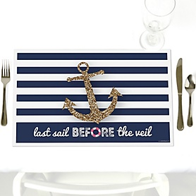 Last Sail Before The Veil - Party Table Decorations - Bachelorette Party & Bridal Shower Placemats - Set of 12