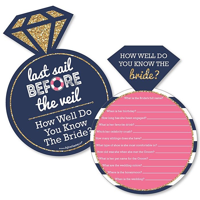 Last Sail Before The Veil - Nautical Bachelorette Party Game - How Well Do You Know The Bride Game - Set of 20