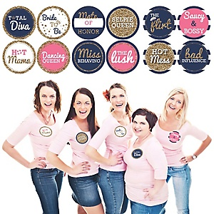 Bachelorette Party & Bridal Shower Name Tags - Last Sail Before The Veil Badges - Party Badges Sticker Set of 12