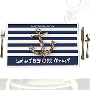 Last Sail Before The Veil - Party Table Decorations - Personalized Bachelorette Party & Bridal Shower Placemats - Set of 12