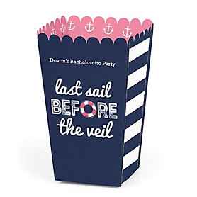 Last Sail Before The Veil - Personalized Bachelorette Party & Bridal Shower Popcorn Favor Treat Boxes - Set of 12