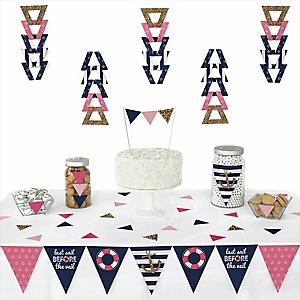 Last Sail Before The Veil -  Triangle Bachelorette Party & Bridal Shower Decoration Kit - 72 Piece