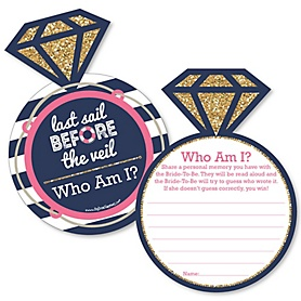 Last Sail Before The Veil - Nautical Bachelorette Party Game - Who Am I Game Cards - Set of 20
