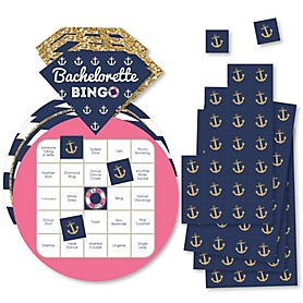 Last Sail Before The Veil - Bar Bingo Cards and Markers - Nautical Bachelorette and Bridal Shower Shaped Bingo Game - Set of 18