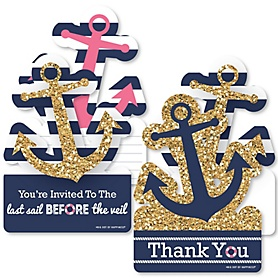 Last Sail Before The Veil - 20 Shaped Fill-In Invitations and 20 Shaped Thank You Cards Kit - Nautical Bachelorette and Bridal Shower Stationery Kit - 40 Pack