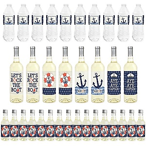Ahoy - Nautical - Mini Wine Bottle Labels, Wine Bottle Labels and Water Bottle Labels - Baby Shower or Birthday Party Decorations - Beverage Bar Kit - 34 Pieces