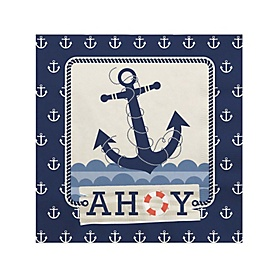 Ahoy - Nautical - Birthday Party Beverage Napkins - 16 ct