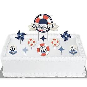 Ahoy - Nautical - Birthday Party Cake Decorating Kit - Happy Birthday Cake Topper Set - 11 Pieces