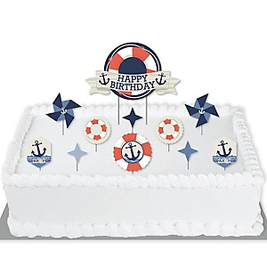 Ahoy - Nautical - Birthday Party Cake Decorating Kit - Happy Birthday Cake Topper Set - 11 Pieces