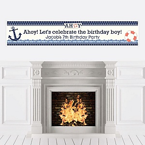 Ahoy - Nautical - Personalized Birthday Party Banners