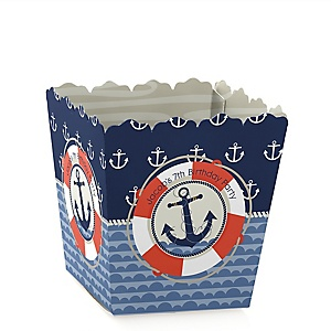 Ahoy - Nautical - Party Mini Favor Boxes - Personalized Birthday Party Treat Candy Boxes - Set of 12