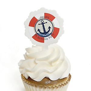 Ahoy - Nautical - Personalized Birthday Party Cupcake Pick and Sticker Kit - 12 ct