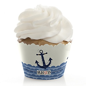 Ahoy - Nautical - Birthday Decorations - Party Cupcake Wrappers - Set of 12