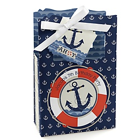 Ahoy - Nautical - Personalized Birthday Party Favor Boxes - Set of 12