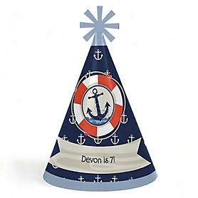 Ahoy - Nautical - Personalized Cone Happy Birthday Party Hats for Kids and Adults - Set of 8 (Standard Size)