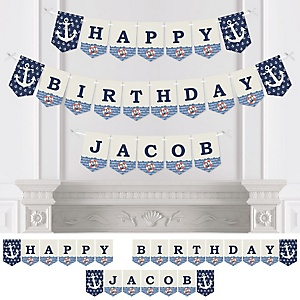 Ahoy - Nautical - Personalized Birthday Party Bunting Banner & Decorations