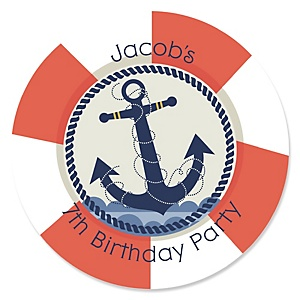 Ahoy - Nautical - Personalized Birthday Party Sticker Labels - 24 ct