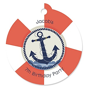 Ahoy - Nautical - Round Personalized Birthday Party Tags - 20 ct