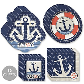 Ahoy - Nautical - Birthday Party Tableware Plates and Napkins - Bundle for 16