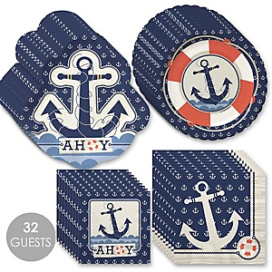 Ahoy - Nautical - Baby Shower Tableware Plates and Napkins - Bundle for 32