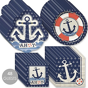 Ahoy - Nautical - Baby Shower Tableware Plates and Napkins - Bundle for 48