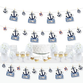 Ahoy - Nautical - Baby Shower or Birthday Party DIY Decorations - Clothespin Garland Banner - 44 Pieces
