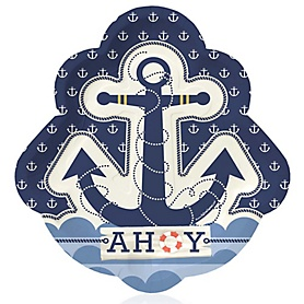 Ahoy - Nautical - Birthday Party Dinner Plates - 16 ct