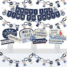 Ahoy - Nautical - Banner and Photo Booth Decorations - Baby Shower or Birthday Party Supplies Kit - Doterrific Bundle
