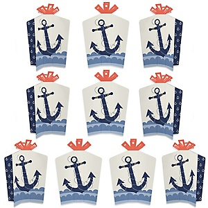 Ahoy - Nautical - Table Decorations - Baby Shower or Birthday Party Fold and Flare Centerpieces - 10 Count