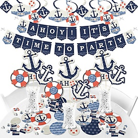 Ahoy - Nautical - Baby Shower or Birthday Party Supplies - Banner Decoration Kit - Fundle Bundle
