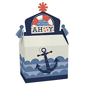 Ahoy - Nautical - Treat Box Party Favors - Baby Shower or Birthday Party Goodie Gable Boxes - Set of 12