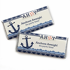 Ahoy - Nautical -  Candy Bar Wrapper Baby Shower or Birthday Party Favors - Set of 24