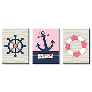 Ahoy - Nautical Girl - Pink Nursery Wall Art & Kids Room Decor - 7.5 x 10 inches - Set of 3 Prints