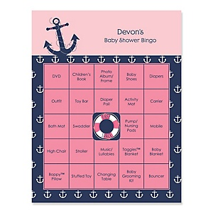 Ahoy - Nautical Girl - Bingo Personalized Baby Shower Games - 16 Count