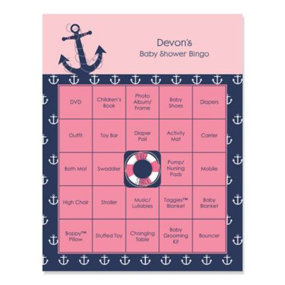 Ahoy   Nautical Girl   Personalized Baby Shower Game Bingo Cards   16 Ct