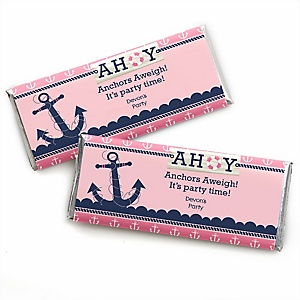 Ahoy - Nautical Girl - Personalized Baby Shower Candy Bar Wrapper Favors